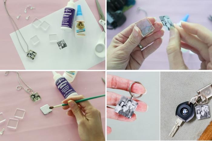 activité fête des pères pour adultes, étapes à suivre pour créer un accessoire avec photo de famille et anneau de porte-clé