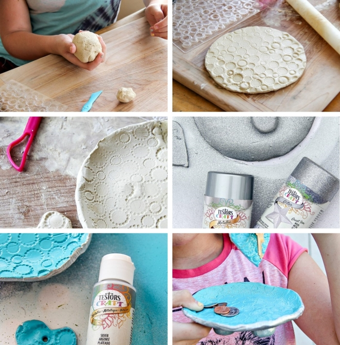 bricolage fête des pères pour tout petit, étapes à suivre pour réaliser un bol et un porte-clé pour papa en argile décoré de peinture
