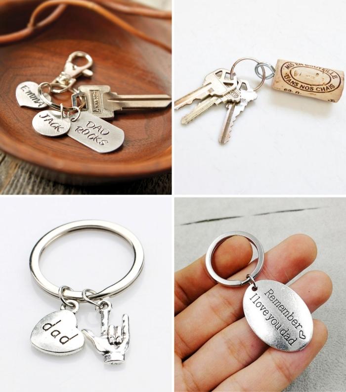 modèles de porte-clé original en métal avec gravure je t'aime papa, exemple de cadeau fête des pères personnalisé