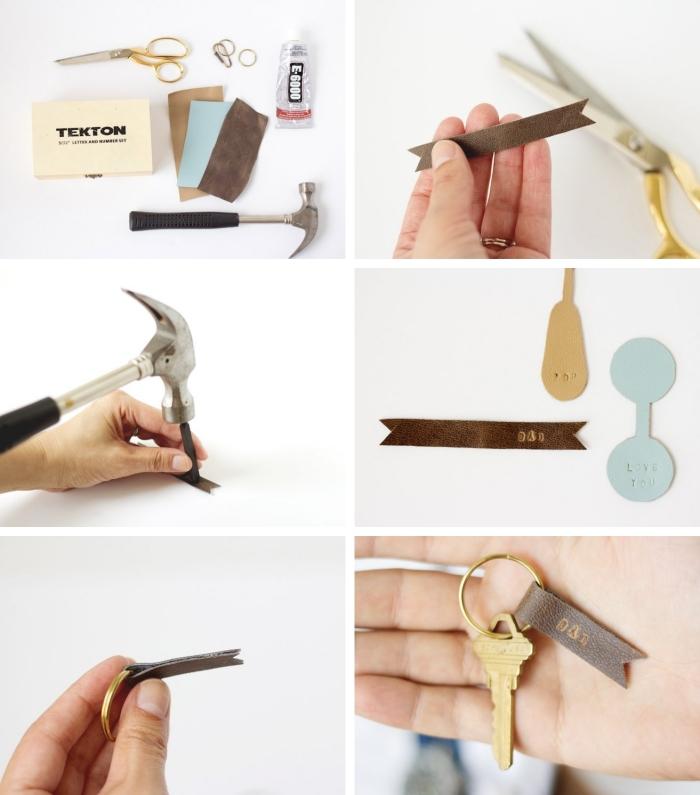 étapes à suivre pour fabriquer un porte-clé en cuir originale, idée cadeau fête des pères à fabriquer facilement avec chute de cuir