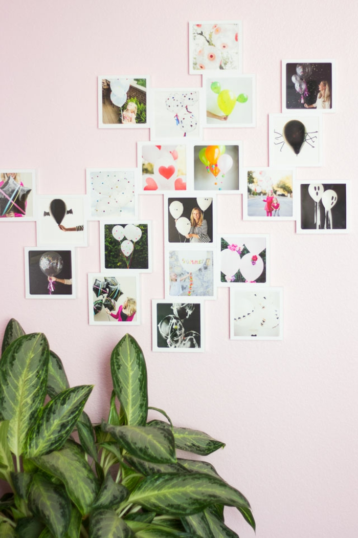 Mur rose et plante verte esthetique pele mele photo, idée déco murale avec un cadre photo pele mele