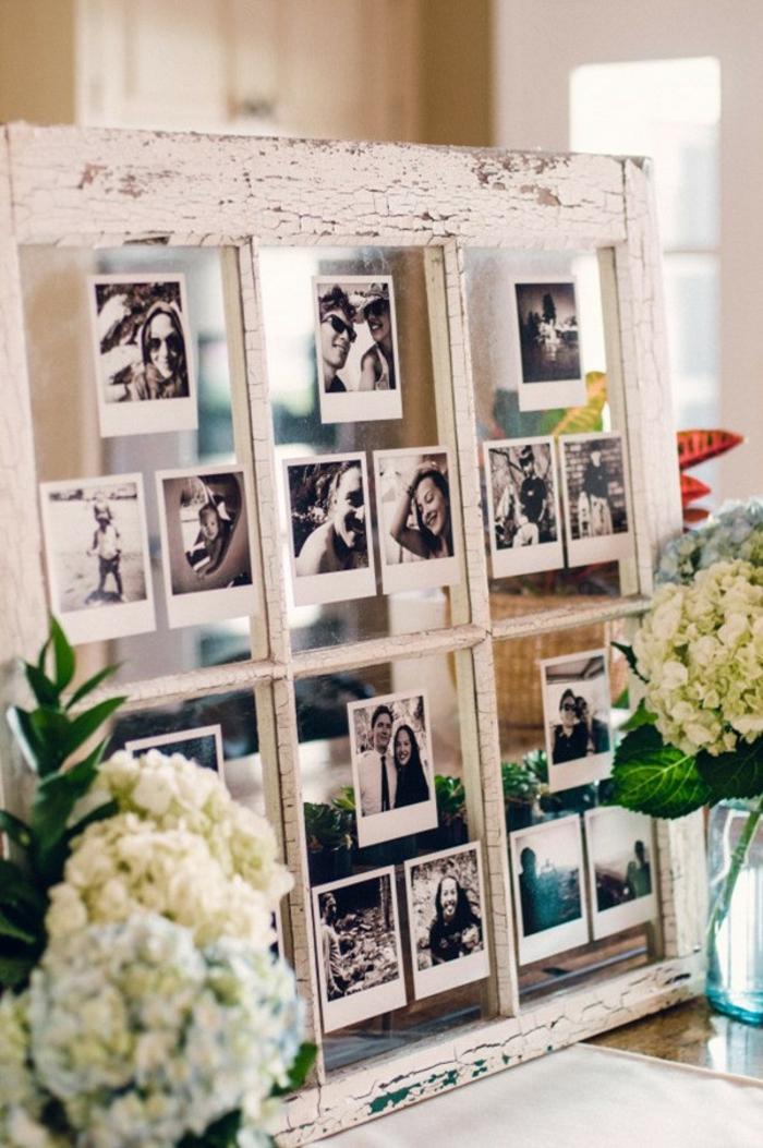 Cadre de fenetre coller des photos noir et blancs guirlande photo, cadre photo original pour bien décorer les murs