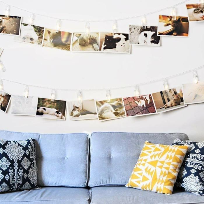 Décorer le haut du mur cadre pele mele photo, quelle porte photo choisir pour sa chambre canapé bleu