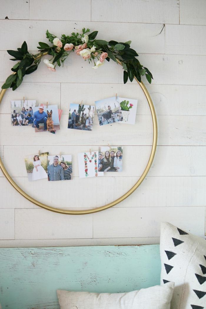 Ronde cadre de cerceau décoré de fleurs cadre pele mele photo geant, exposer ses photos favoris sur le mur porte photo