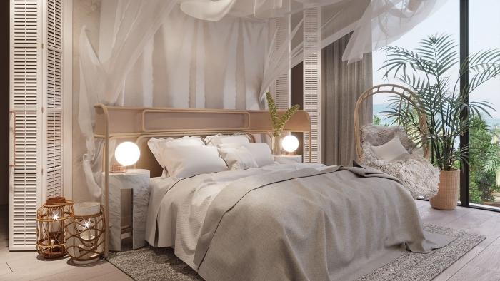 idée déco chambre parentale d'esprit zen avec meubles en bois, design chambre relaxante avec meubles en rotin et bambou