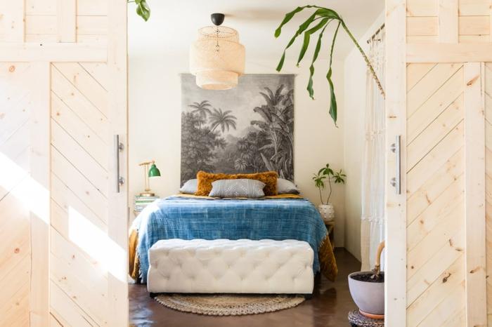Grande photo noir et blanc au lieu de tete de lit, cadre photo deco de chambre ado, aménagement chambre étudiant