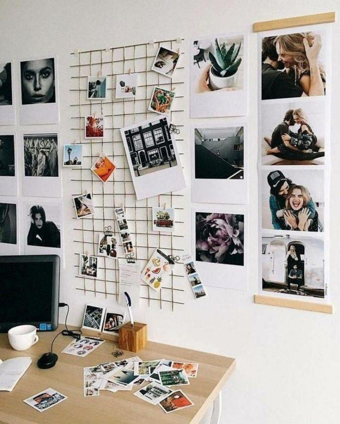 Rangement photo bureau à la maison, comment décorer sa chambre, idée déco diy accroche photo bricolage