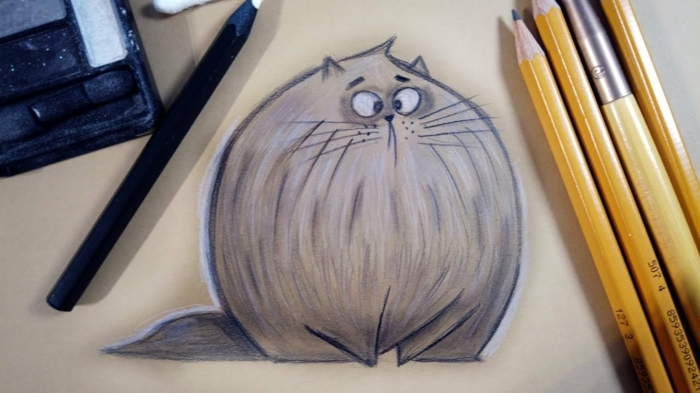 Chat ronde photo de dessin crayon, dessin noir et blanc art a reproduire chaton animation