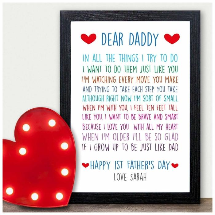 Cher papa lettre imprimé et encadré idée cadeau papa, inspiration cadeau fete des peres bebe simple