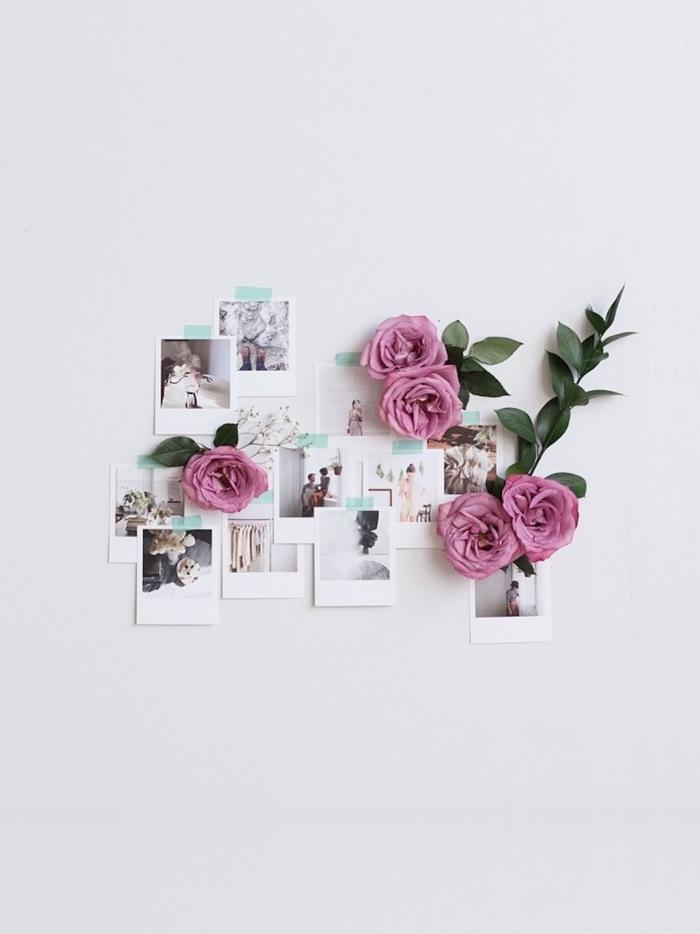 activité manuelle facile et rapide, idée comment faire une décoration murale chambre femme avec photos et fleurs artificielles