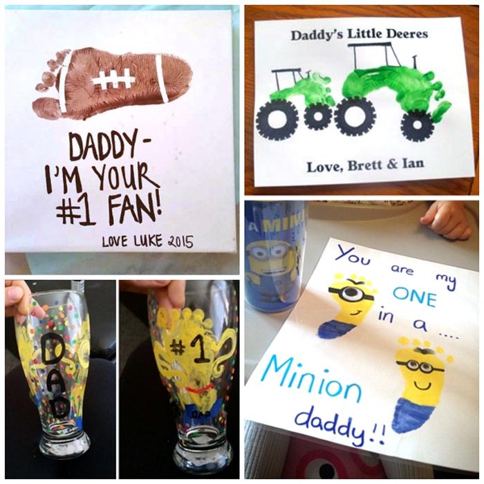 Minion de pied jaune et bleu, dessin fait par empreinte de pied de bébé, collage idées de bricolage fête des pères facile, activité fete des peres cadeau a faire