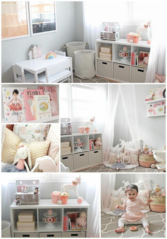 Fille bébé collage images avec les différents coins de sa chambre, inspiration chambre fille rose et gris, peinture chambre fille simple style