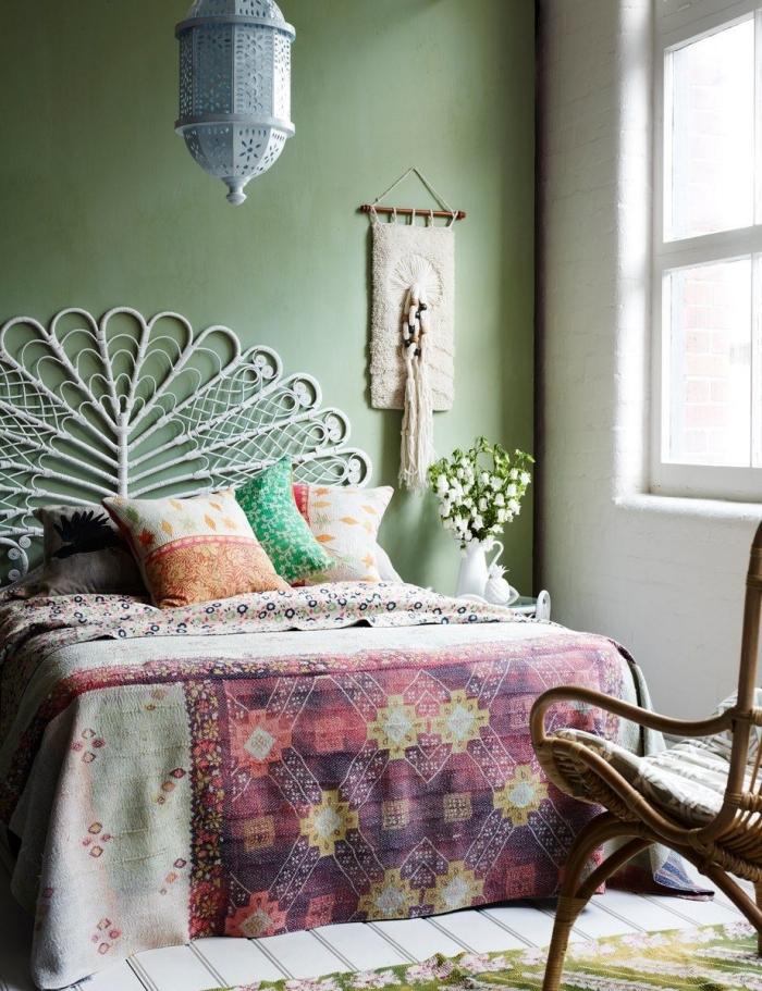 décoration chambre à coucher adulte photos, quelle peinture pour les murs dans une pièce d'esprit boho chic et nature