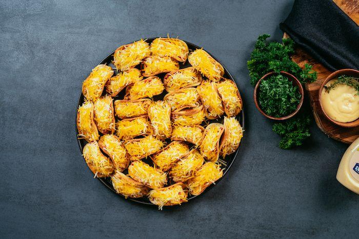 recette tacos poulet cheddar et légumes, recette wrap apero facile a faire en confinement