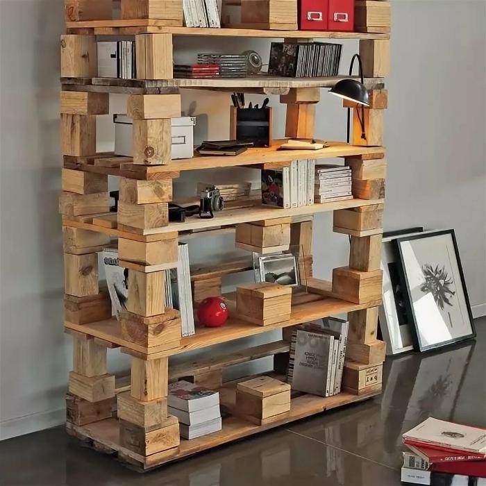 modèle de bibliothèque originale à faire soi-même avec palettes recyclés, idée que faire avec des palettes de bois