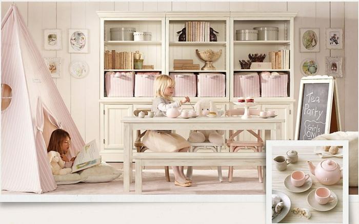 Bois déco ardoise tea party decoration murale chambre fille, idée déco chambre bébé utile tipi confort