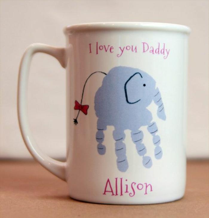 Tasse avec éléphante d'empreinte de main bricolage fête des pères pour tout petit, cadeau fete des peres original