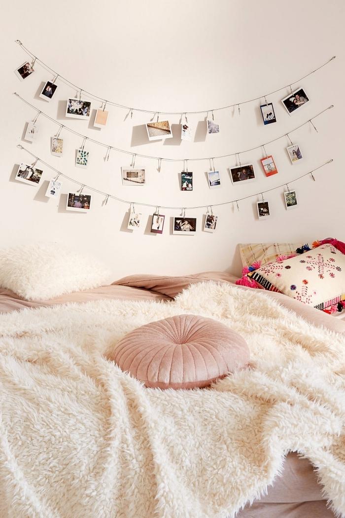 comment décorer les murs avec une guirlande chambre ado, idée de décoration chambre fille avec guirlande DIY de photos