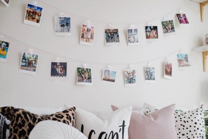 idée de DIY décoration murale chambre fille, exemple comment décorer les murs dans sa chambre avec une guirlande DIY