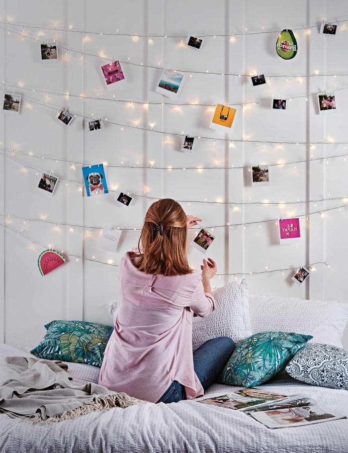 exemple comment sublimer les murs dans sa chambre ado avec photos, idée de deco lumineuse facile à faire avec lampes et photos