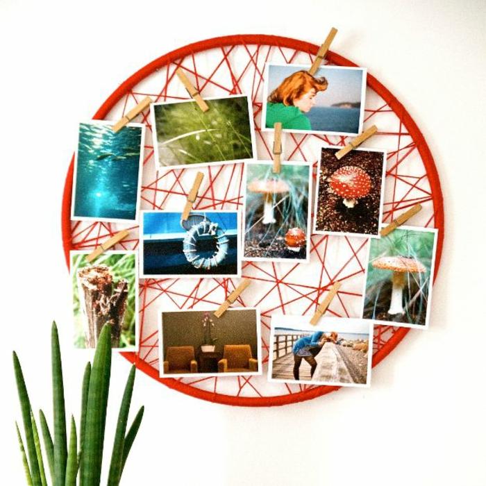 Ronde cadre pele mele décoré de fil rouge, mur photo, coeur en photo, cosy chambre à décorer bien