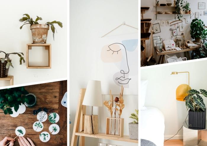 petite étagère en forme géométrique fait maison avec bois récup, diy pot de fleur en bois repeint en gris anthracite