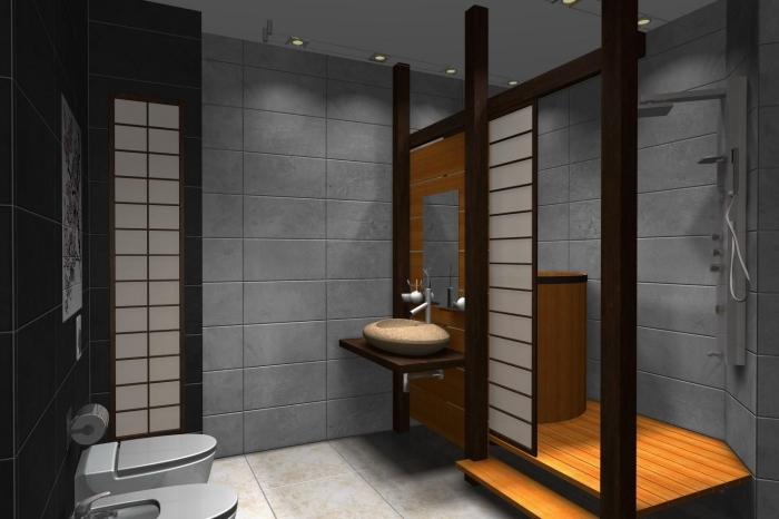conception moderne dans une salle de bain aux murs gris avec accents en bois, déco petite salle de bain avec bain japonais