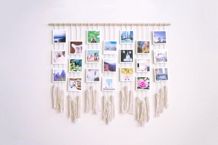 comment faire une suspension murale d'esprit bohème avec corde macramé et photos imprimées, diy guirlande chambre boho chic