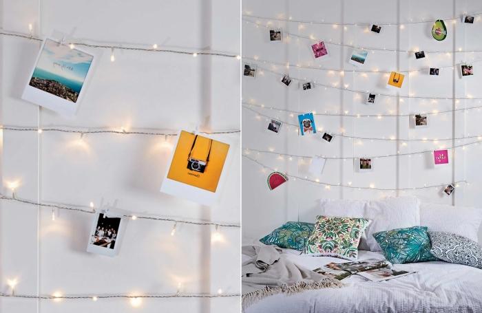 exemple facile comment créer une guirlande photo avec lampes led, idée de décoration DIY avec photos pour les murs dans une pièce