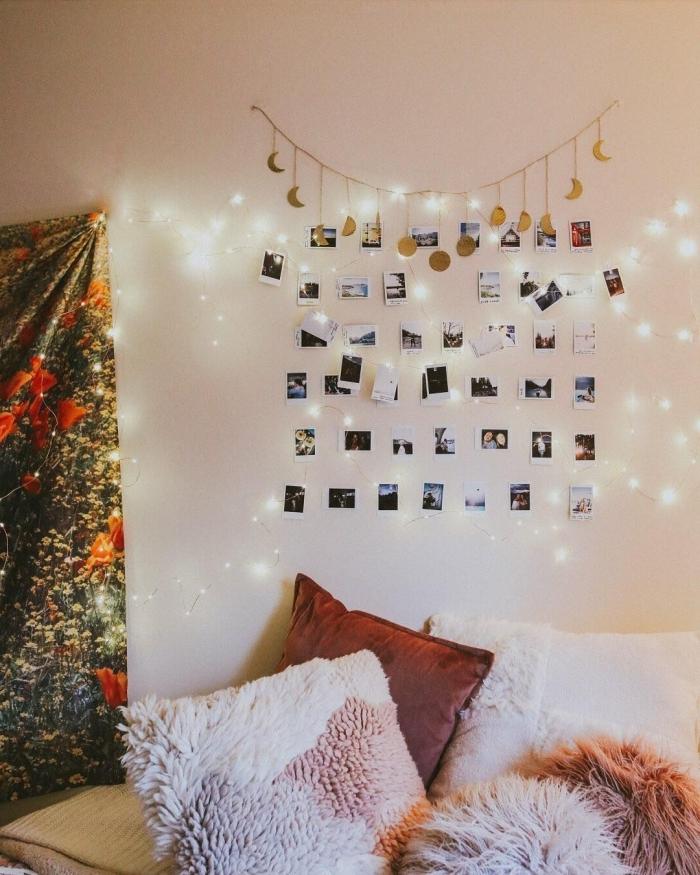 exemple comment décorer le mur au-dessus de son lit avec une guirlande lumineuse interieur personnalisée de photos