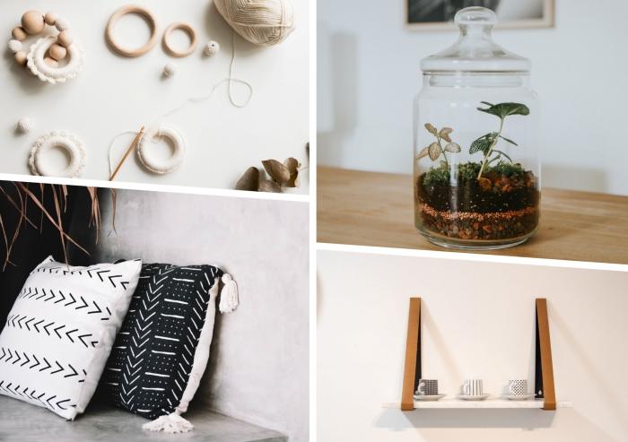 idée comment fabriquer une étagère facile avec planche de bois et cintres, création suspension macramé avec perles bois