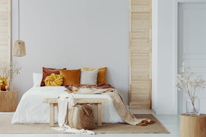 quelles couleurs pour une décoration chambre à coucher relaxante et naturelle, design chambre en nuances terreuses