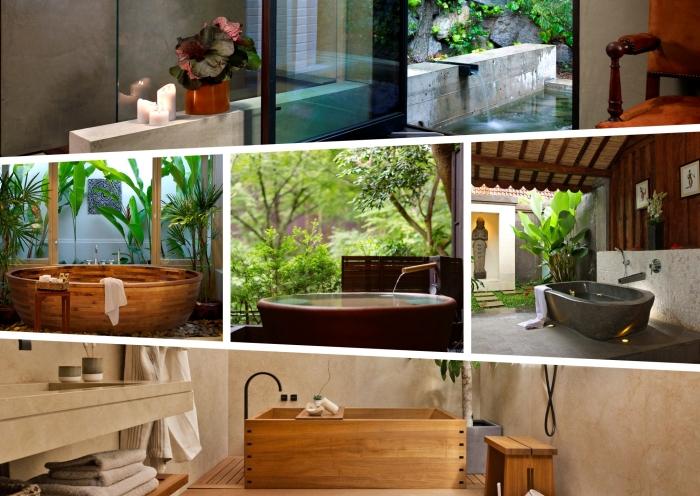 déco inspiration japonaise, idées comment aménager une salle de bain de style asiatique et zen avec baignoire autoportante