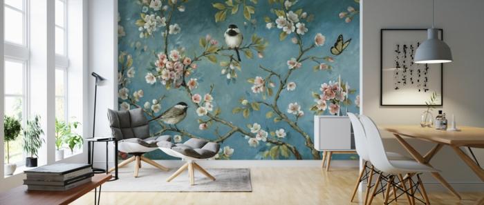 Papier peinte décorations murales branche fleurie avec un petit oiseau salon bien aménagé