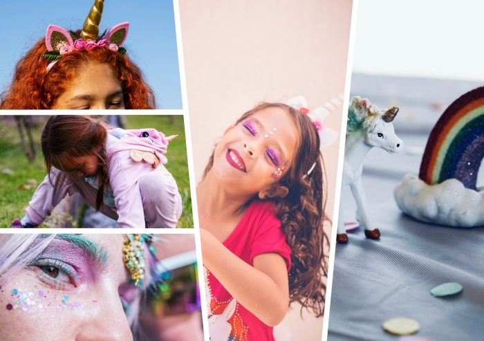 idée comment réussir son déguisement licorne de carnaval, modèle de costume pyjama en rose pastel à design licorne