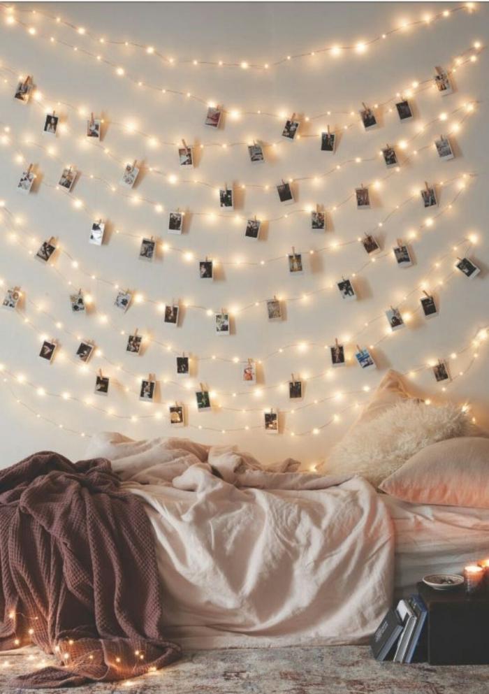 activité manuelle facile pour décorer l'espace au-dessus de son lit, modèle de guirlande lumineuse chambre fille personnalisée
