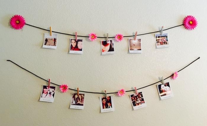 idee deco photo polaroid facile à créer, exemple comment bien décorer les murs dans sa chambre ado avec guirlande DIY