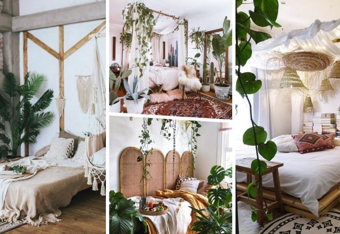idée déco chambre nature avec meubles en bois et accessoires en rotin, quelles plantes pour décorer une chambre exotique