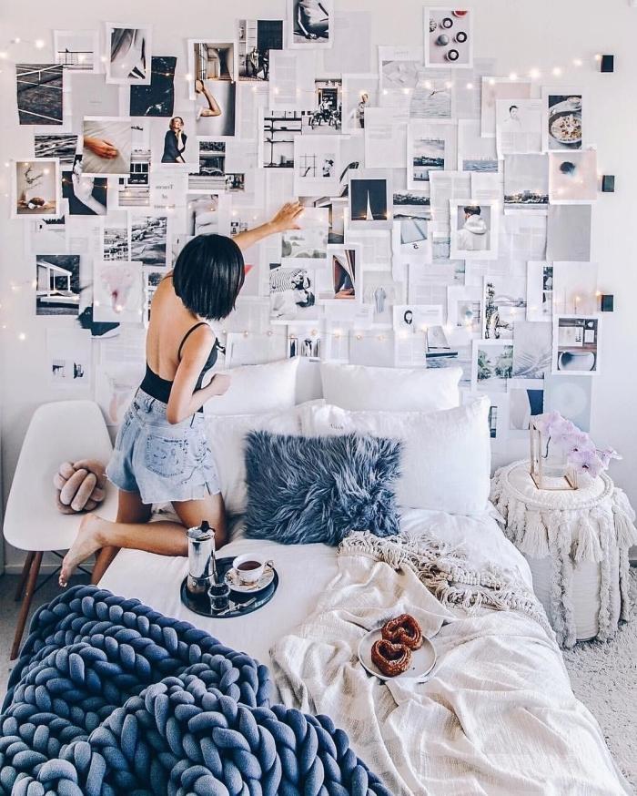 comment décorer sa chambre ado avec photos et pages de livres, exemple comment personnaliser l'espace au dessus de son lit cocooning