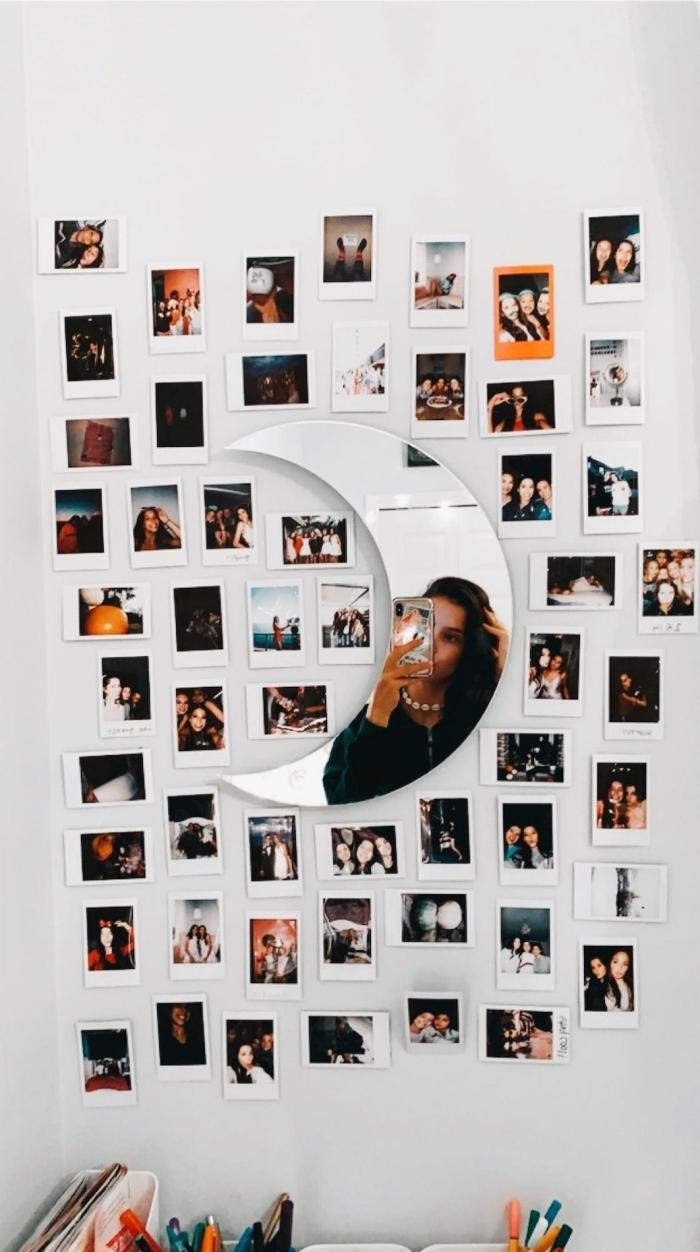 idée comment décorer les murs dans sa chambre avec une deco fait maison, diy mur de photos polaroid avec miroir