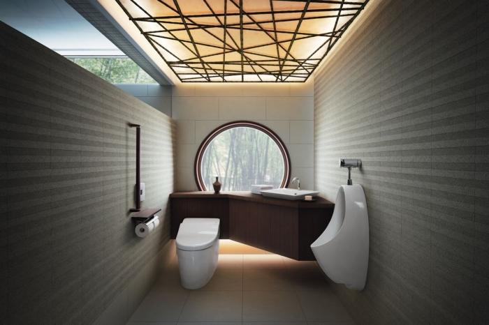 aménagement petite salle de bain contemporaine, conception salle de bain moderne aux murs gris avec accents bois foncé
