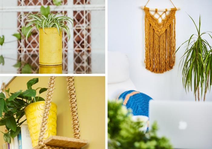 activité manuelle pour adulte, que faire avec une boîte de conserve, diy étagère en bois récup et corde macramé