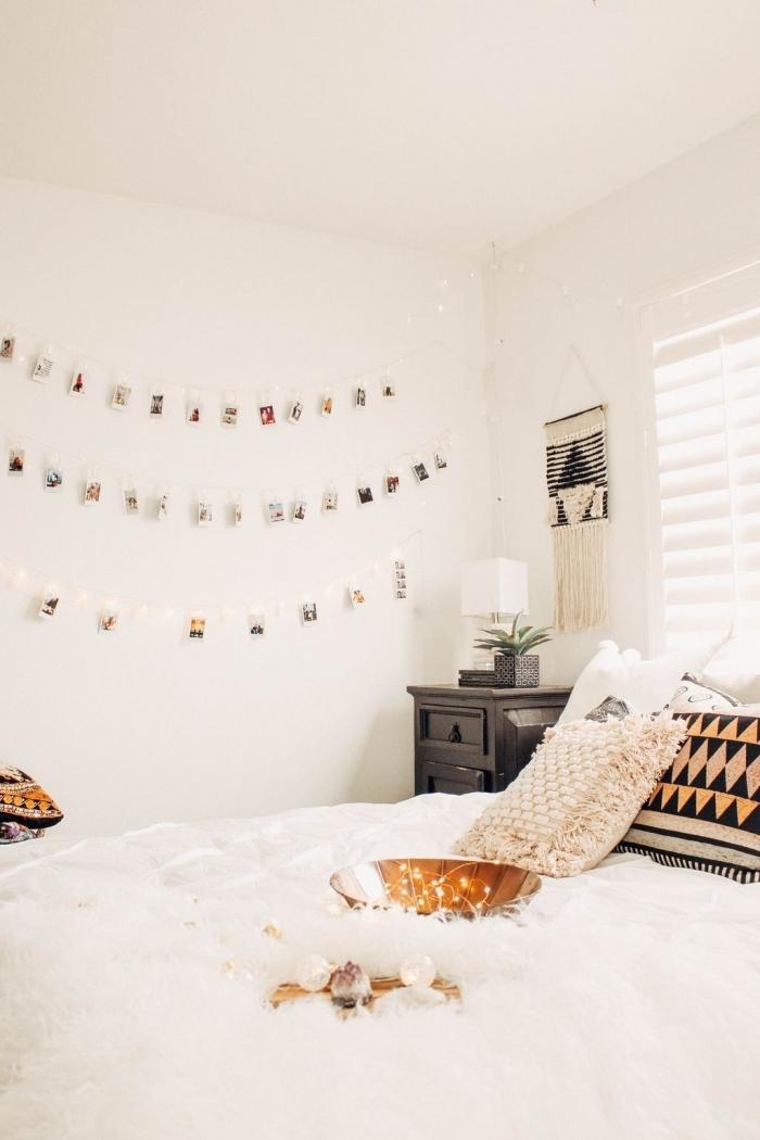 diy déco chambre bohème facile à faire et économique, comment personnaliser les murs dans sa chambre bohème avec guirlande DIY