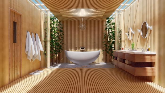aménagement salle de bain spacieuse avec double vasque et baignoire, design salle de bain zen et relax en bois et blanc