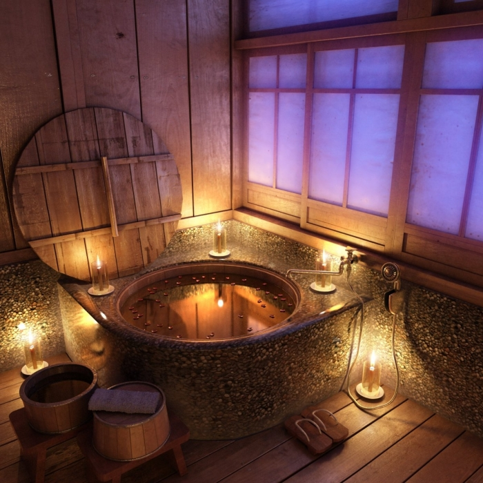exemple de salle de bain zen décoré avec accessoires en bois, quel revêtement mural pour une déco salle de bain asiatique