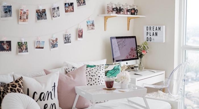 idée comment décorer sa chambre avec objets fait main, DIY guirlande en ficelle et photos de voyage accrochés avec pinces