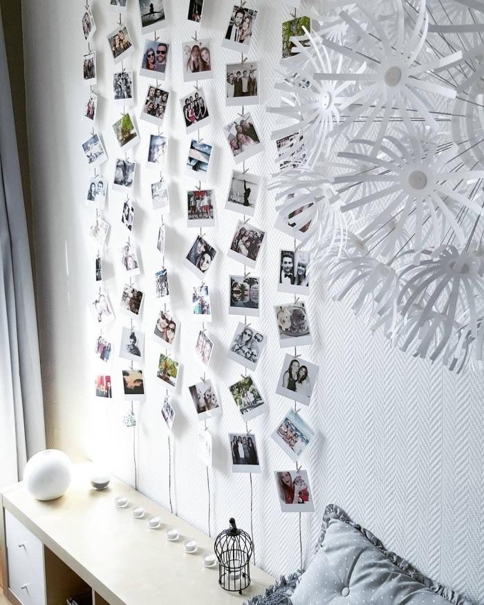 modèle d'accroche photo facile à faire avec ficelle et photos, idée comment décorer les murs dans sa chambre avec photos