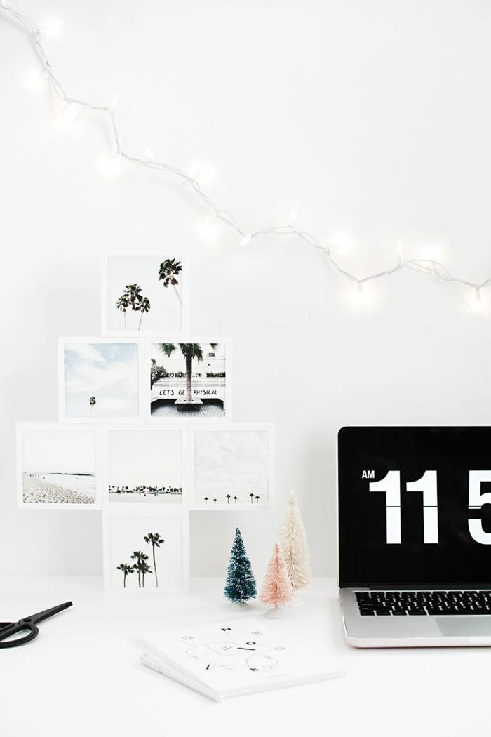 Guirlande lumineuse, forme d'rbre cadre photo bois, coeur en photo chambre bien décorée en blanc et gris