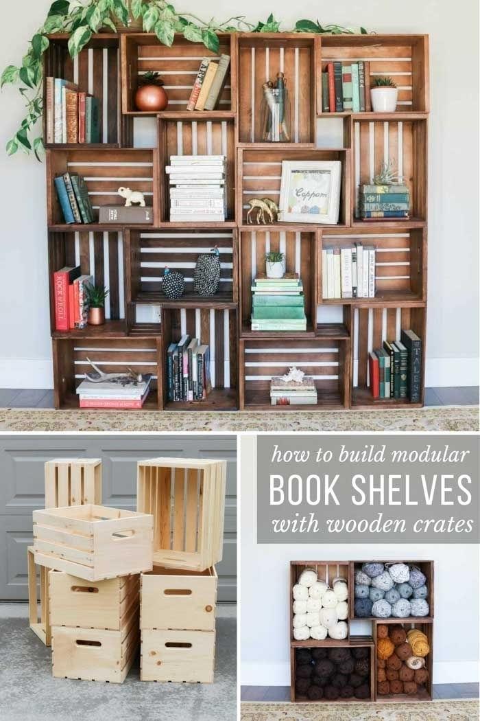 modèle de bibliothèque maison facile et à petit budget, comment créer une bibliothèque avec cagettes de bois recyclées