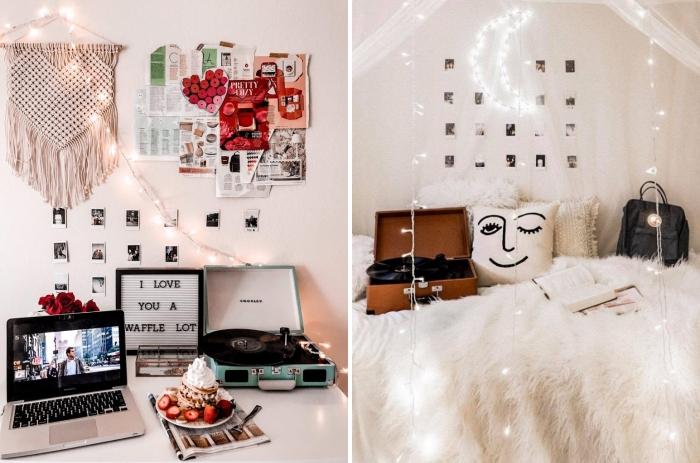 décoration de coin de travail à domicile avec objets fait main, idée comment personnaliser une guirlande lumineuse interieur